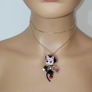 Betsey Johnson Mariachi Cat Pendant Long Necklace